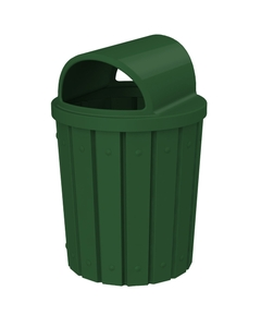 42 Gallon Green Slatted Trash Receptacle, 2-Way Open Lid