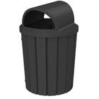42 Gallon Black Slatted Trash Receptacle, 2-Way Open Lid