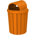 42 Gallon Orange Slatted Trash Receptacle, 2-Way Open Lid