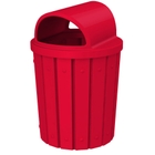 42 Gallon Red Slatted Trash Receptacle, 2-Way Open Lid