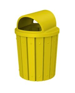 42 Gallon Yellow Slatted Trash Receptacle, 2-Way Open Lid