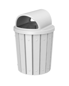42 Gallon White Slatted Trash Receptacle, 2-Way Open Lid