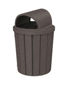 42 Gallon Brown Granite Slatted Trash Receptacle, 2-Way Open Lid