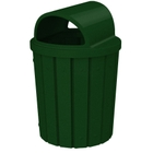 42 Gallon Green Granite Slatted Trash Receptacle, 2-Way Open Lid
