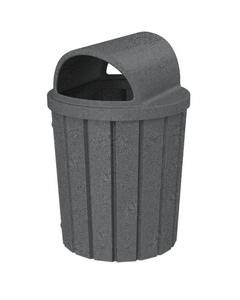 42 Gallon Dark Granite Slatted Trash Receptacle, 2-Way Open Lid
