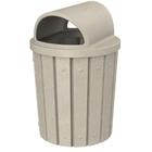 42 Gallon Beige Granite Slatted Trash Receptacle, 2-Way Open Lid