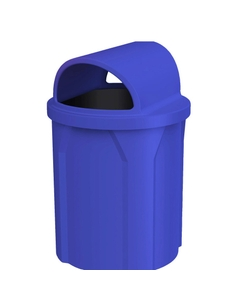 42 Gallon Blue Trash Receptacle, 2-Way Open Lid