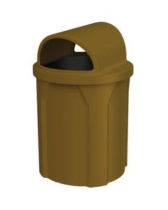 42 Gallon Brown Trash Receptacle, 2-Way Open Lid