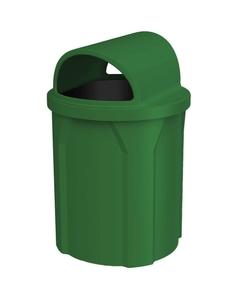 42 Gallon Green Trash Receptacle, 2-Way Open Lid