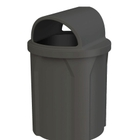 42 Gallon Black Trash Receptacle, 2-Way Open Lid