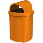 42 Gallon Orange Trash Receptacle, 2-Way Open Lid