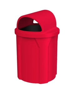 42 Gallon Red Trash Receptacle, 2-Way Open Lid