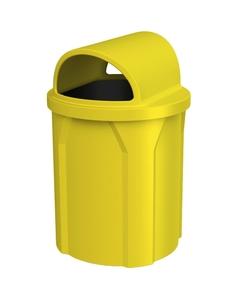 42 Gallon Yellow Trash Receptacle, 2-Way Open Lid