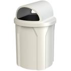 42 Gallon White Trash Receptacle, 2-Way Open Lid