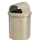 42 Gallon Beige Granite Trash Receptacle, 2-Way Open Lid