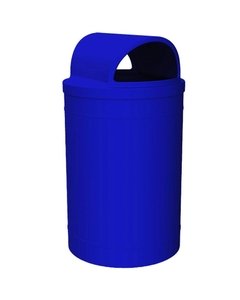 55 Gallon Blue Trash Receptacle, 2-Way Open Lid