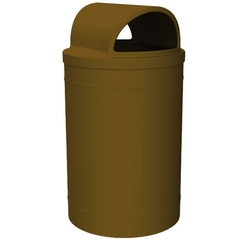 55 Gallon Brown Trash Receptacle, 2-Way Open Lid