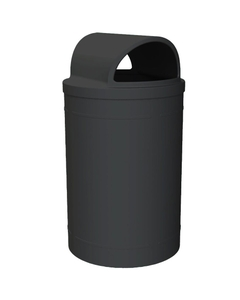 55 Gallon Black Trash Receptacle, 2-Way Open Lid