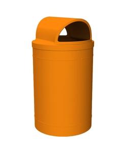 55 Gallon Orange Trash Receptacle, 2-Way Open Lid