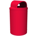 55 Gallon Red Trash Receptacle, 2-Way Open Lid