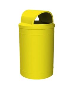 55 Gallon Yellow Trash Receptacle, 2-Way Open Lid