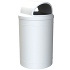 55 Gallon White Trash Receptacle, 2-Way Open Lid