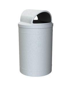 55 Gallon Light Granite Trash Receptacle, 2-Way Open Lid