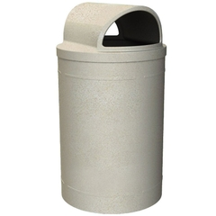 55 Gallon Beige Granite Trash Receptacle, 2-Way Open Lid