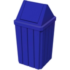32 Gallon Blue Slatted Square Trash Receptacle, Swing Top Lid