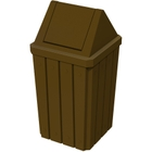 32 Gallon Brown Slatted Square Trash Receptacle, Swing Top Lid