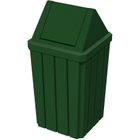 32 Gallon Green Slatted Square Trash Receptacle, Swing Top Lid