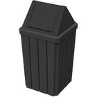 32 Gallon Black Slatted Square Trash Receptacle, Swing Top Lid