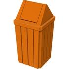 32 Gallon Orange Slatted Square Trash Receptacle, Swing Top Lid