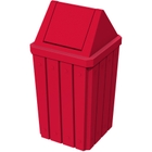 32 Gallon Red Slatted Square Trash Receptacle, Swing Top Lid