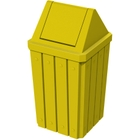 32 Gallon Yellow Slatted Square Trash Receptacle, Swing Top Lid