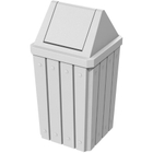 32 Gallon White Slatted Square Trash Receptacle, Swing Top Lid