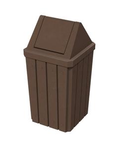 32 Gallon Brown Granite Slatted Square Trash Receptacle, Swing Top Lid