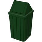 32 Gallon Green Granite Slatted Square Trash Receptacle, Swing Top Lid