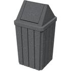 32 Gallon Dark Granite Slatted Square Trash Receptacle, Swing Top Lid