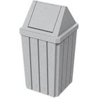 32 Gallon Light Granite Slatted Square Trash Receptacle, Swing Top Lid