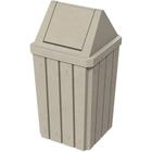 32 Gallon Beige Granite Slatted Square Trash Receptacle, Swing Top Lid