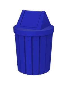 42 Gallon Blue Slatted Trash Receptacle, Swing Top Lid