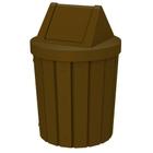 42 Gallon Brown Slatted Trash Receptacle, Swing Top Lid