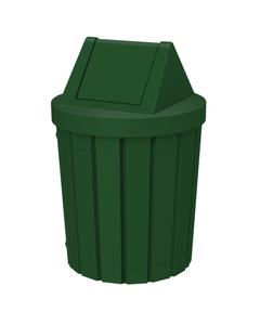 42 Gallon Green Slatted Trash Receptacle, Swing Top Lid