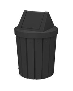 42 Gallon Black Slatted Trash Receptacle, Swing Top Lid