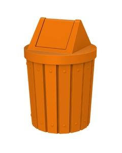 42 Gallon Orange Slatted Trash Receptacle, Swing Top Lid