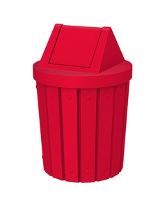 42 Gallon Red Slatted Trash Receptacle, Swing Top Lid