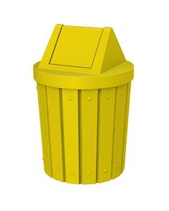 42 Gallon Yellow Slatted Trash Receptacle, Swing Top Lid