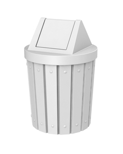 42 Gallon White Slatted Trash Receptacle, Swing Top Lid