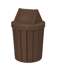 42 Gallon Brown Granite Slatted Trash Receptacle, Swing Top Lid